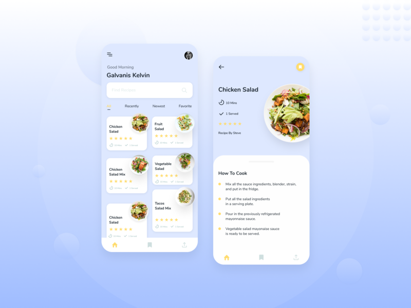 Food Recipe App 🌮 white uiux ui design clean design minimalist blue food app recipe food
