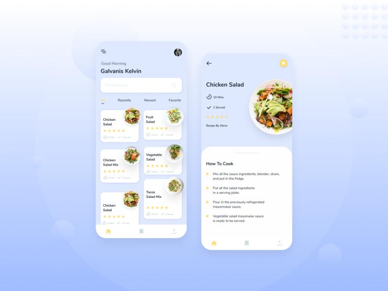 Food Recipe App 🌮 white uiux ui design clean design minimalist blue food app recipe food