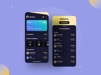 Wallet App 💸 money visa card card transaction purple wallet app ui ui design design clean design minimalist mobile design mobile ui