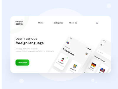 Foreign Course V.2 📚 - Website clean ui simple design foreign foreign course design ui design ui clean design illustration white app minimalist mobile design mobile ui