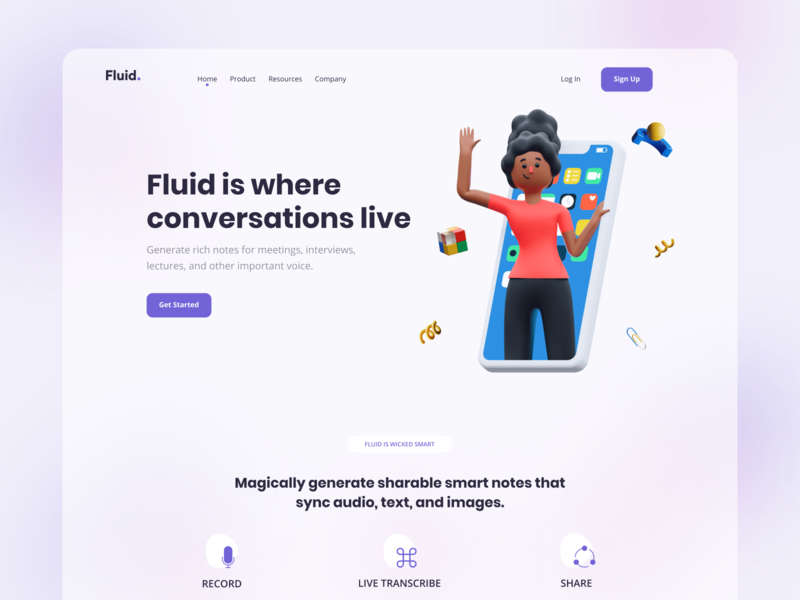 Fluid Messaging - Web App Exploration illustration flat figma design 3d website business ui design landing page uiux trendy header branding web apps ux minimal dribbble web design ui creative