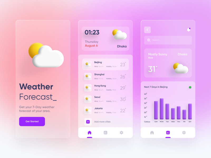 Weather App - Mobile UI card colors clean typography temperature quarantine trend design trendy minimal dribbble shot transparency mobile ui app weather widgets 3d ui creative