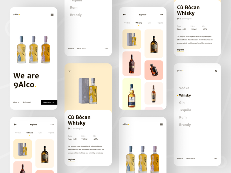 9Alco - Mobile App Concept clean brandy vodka rum jin whisky wine beer drinks alcohol e-commerce trendy flat branding design creative minimal dribbble ux ui