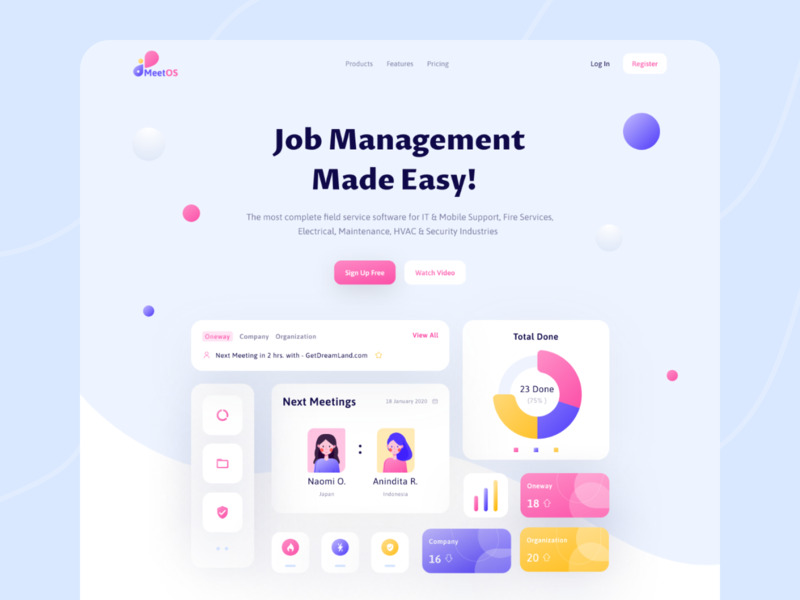 MeetOS - Management Website exploration web ui candy colors cards landing page app web dashboard web app header e-commerce trendy branding web design ux minimal dribbble ui creative