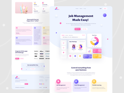 Meet iOS - Home Page cards ui colorful web app landing page design button candy colors 2020 trends ui design dashboard app landing page web apps e-commerce trendy web design ux branding minimal dribbble ui creative