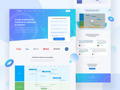 Preceden - Landing Page web apps design interface design landing page header design platform template market backgrounds gradients blue theme header web apps web design trendy branding minimal dribbble ux ui creative