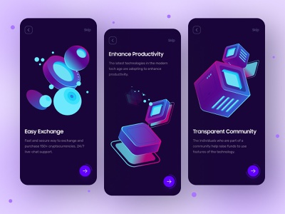 Crypto App Onboarding Screen dark ui dark theme vector illustration 2021 trending ux design ui design onboarding crypto exchange crypto wallet crypto currency interface mobile app app design design trendy dribbble creative ux ui