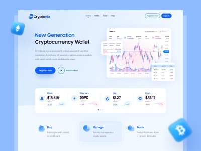 Cryptocurrency Wallet Landing Page chart graphs statistics blockchain bitcoin crypto exchange crypto wallet cryptocurrency ux design ui design header landing page web design web apps trendy minimal dribbble creative ux ui