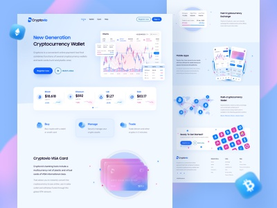 Cryptocurrency Wallet Landing Page cryptocurrency crypto exchange crypto wallet ux design ui design trading bitcoin blockchain statistics graph chart 2021 trend clean design landing page web design web apps trendy ux ui