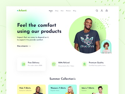 Arkent Landing Page Header sell colorful product dailyui shop cloths fashion store modern e-commerce ecommerce website web design landing page cart minimal clean design ux design ui design