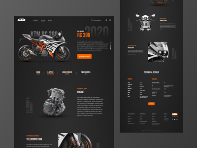 KTM RC 390 - Landing Page Concept ui