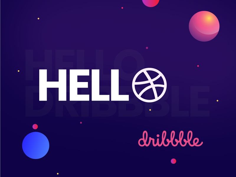 Dribbble - Debut Shot! invite graphic  design visual thank you illustration hello dribbble first shot debut animation design