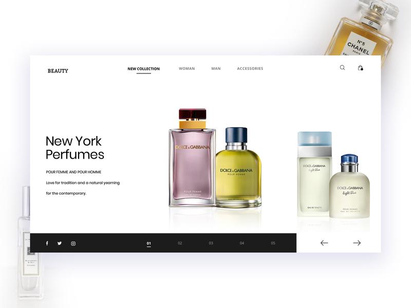 Perfume Shop Website follow me e-commerce website fashion web design design minimal creative scent perfume first shot ui graphic  design