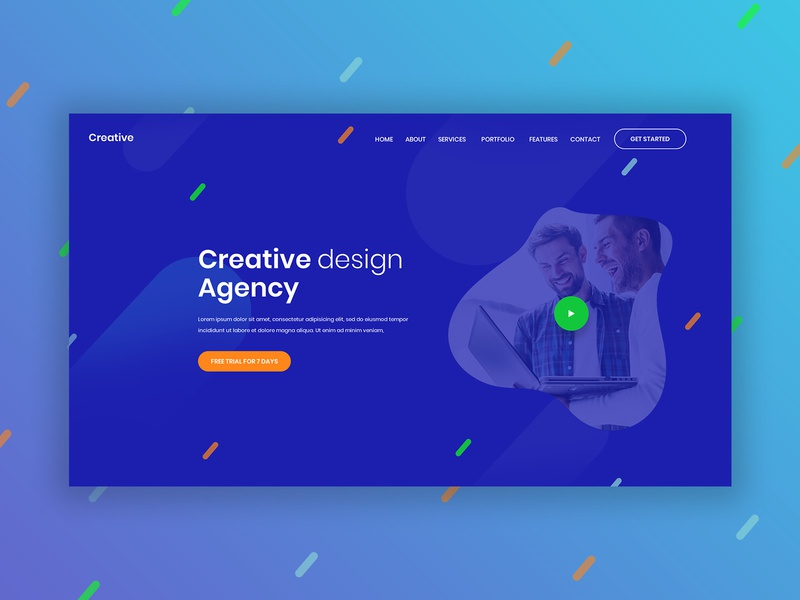 Creative Design Agency - Header branding agency minimal web apps dribbble ux clean colours simple layout branding landing page design agency agency graphics design graphics e-commerce header design header web design ui creative