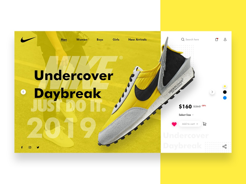 NIKE - Undercover Concept minimal adobe xd xd design xd simple shoe nike header e-commerce branding creative dribbble web apps ui ux design landing page web design app design ux ui photoshop