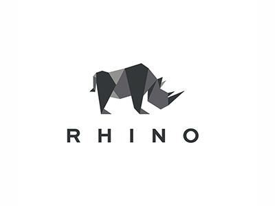 RHINO logos trand polygon rhinoceros origami logo lowpoly mosaic rhino low poly
