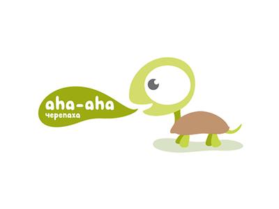 aha-aha logo brand concept aha turtle toys ecology cardboard eco