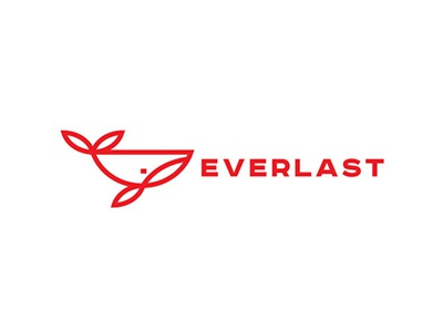 Everlast monogram sign minimalism fin red outline contour line mammal animal sperm whale whale