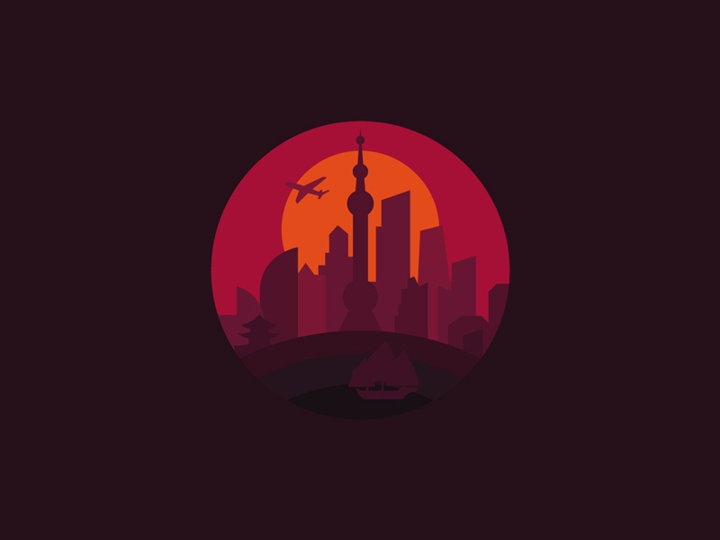 Shanghai sunset monument modern metropolis logo skyscrapers illustration city china building asia shanghai