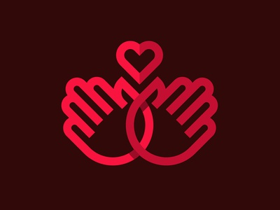Life is in our hands branding single line logotype symbol minimalistic monogram honor kindness love hands heart life