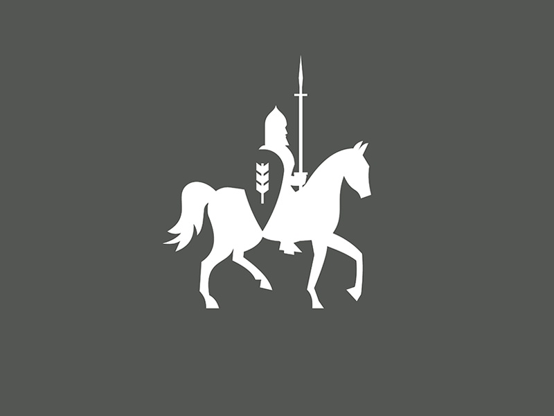 negative space logo knight on the horse with a spear and shield