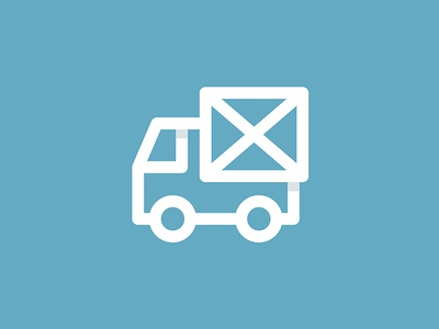 Mail Truck auto sign cross write logo courier delivery line letter mail truck car