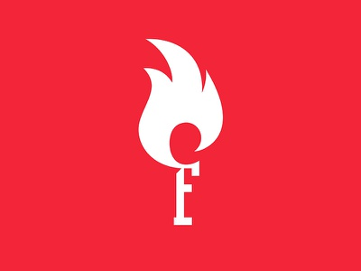 Fire sign logo monogram icons minimalism flat red lights letter f flame fire