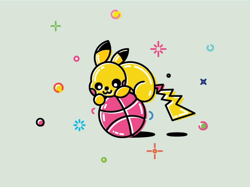 Invites to Dribbble from Pikachu from Pokemon GO pikachu pokemongo go games ピカチュウ icon pokémon pokeball free illustration dribbble invites