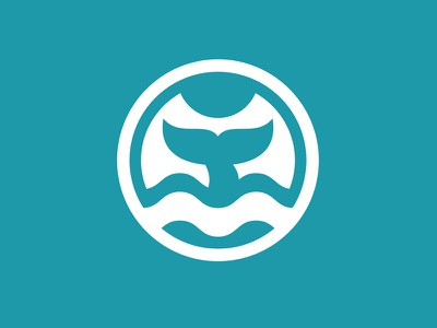 Fin Whale icon moby dick white diving flat blue logo fish mammal animal whale fin