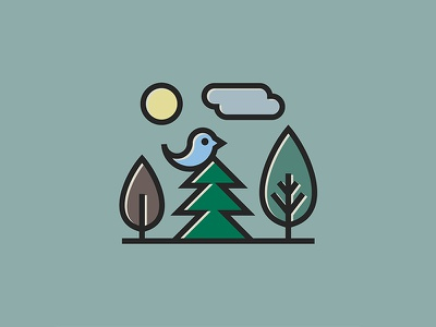 Nature illustration logo flat line cloud tree fir bird minimalism nature