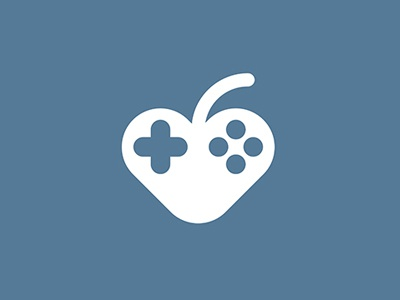 Like to play flat button play logo heart apple joystick like game love