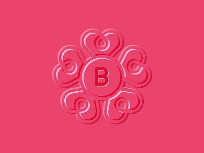 Monogram Hearts illustration logos logo line flat abstract letter pink hearts monogram