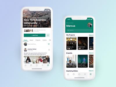 Business Community Platform windmill posts feed group social network community design ui mobile app app