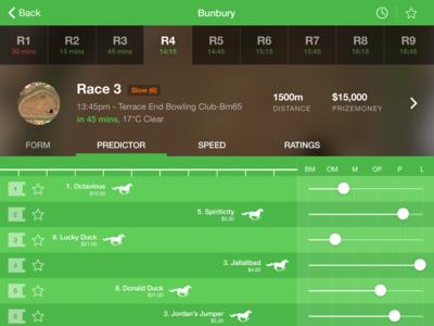 iPad Horse Racing App ipad racing horse racing ui ios8 ios