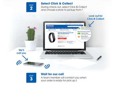 Officeworks Click & Collect officeworks landing page fitbit click and collect web design steps walkthrough