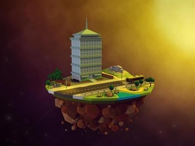 Floating Island bus sunset island 3d lowpoly low poly blender 3d blender