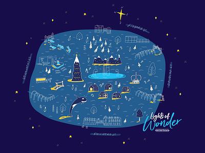 Lights of Wonder handlettering childlike illustrator marketing vector illustration