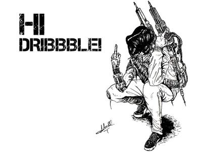 Cyborg debut dribbble ink illustration draw art illustration