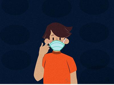 Tips of disposable medical mask coronavirus character vector illustration boy character characters boy digital illustration illustration
