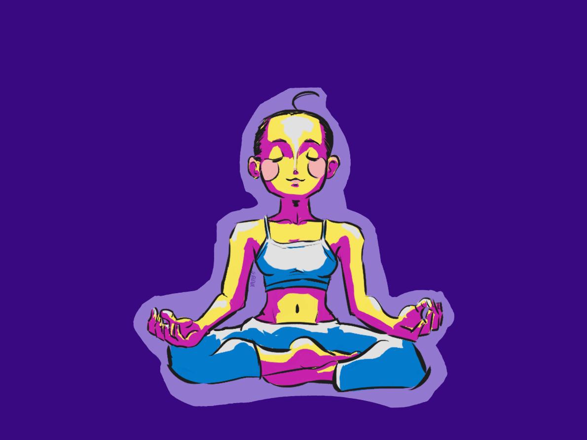 Happy Yoga-Day digital painting illustration art lotus asana namaste yoga woman girls purple colors digital illustration illustraion