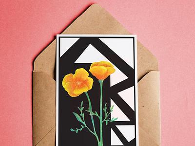 Flower Postcard invitation mockup postcard invitation geometric flowers illustration watercolor