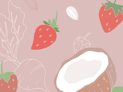 Strawberry Coconut almond coconut strawberries strawberry design vector art vector vegetables illustration fruits food drawings