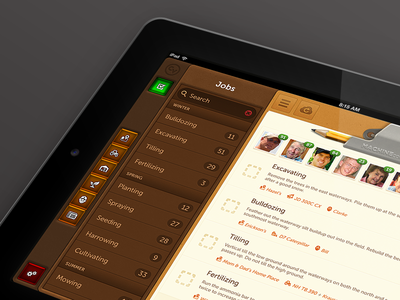Jobs Landscape Render ipad tablet mobile ios precision farming ui list buttons textures
