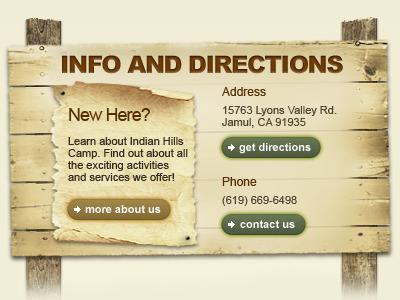 Indian Hills Camp website homepage organic