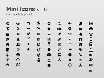 Mini Icons v 1.6 mini icons icon pictograms mini icons small icons vector icons shape layer icons
