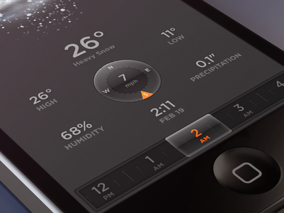 Skies Detail weather wind dial ui iphone iphone5 render mobile ios
