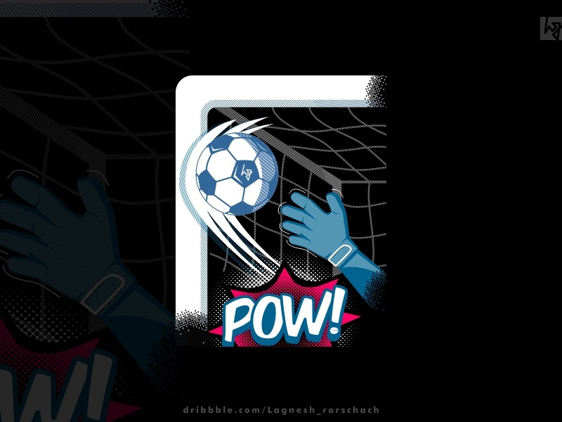 #pow! fifa football artwork print design blue graphic  design