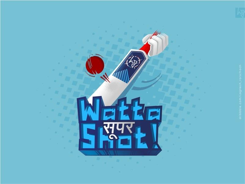 #wattaसुपरShot sticker colors illustration blue graphic design design graphic 2019 worldcup india team ball bat cricket