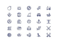 pirate outline icon set