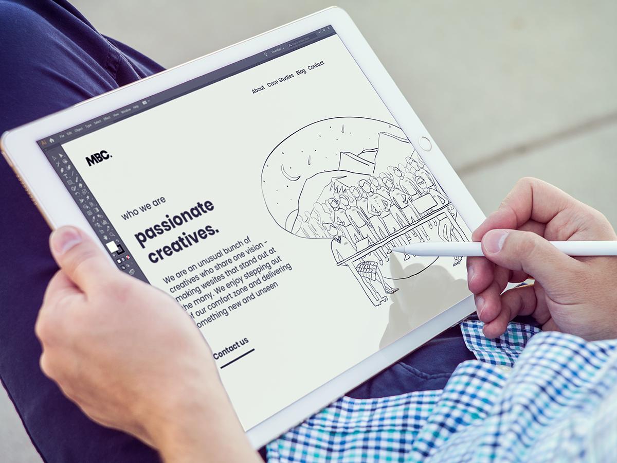 Website Concept Sketch on iPad designer typography creative agency concept art design agency design minimal ui branding web ux web  design website illustration adobe canada drawing graphic design brand
